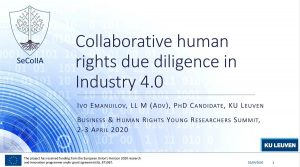 Ivo Emanuilov at the Fifth Young Researchers Summit on Business and Human Rights in (online) Geneva